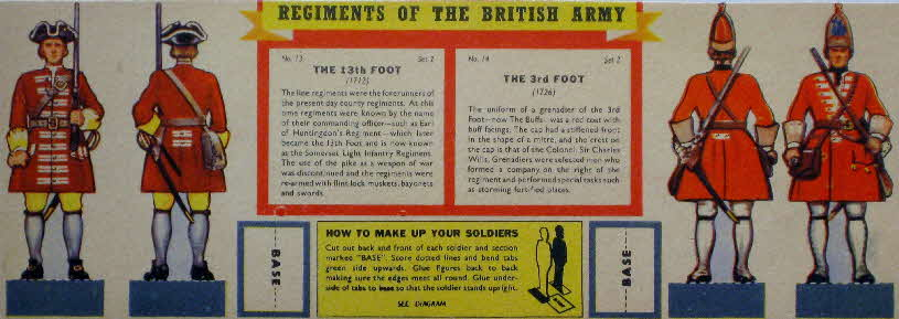 1960s Weetabix Regiments of British Army Set 2 13th & 3rd Foot