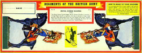 1960s Weetabix Regiments of British Army Set 2 Royal Horse Guards (betr)