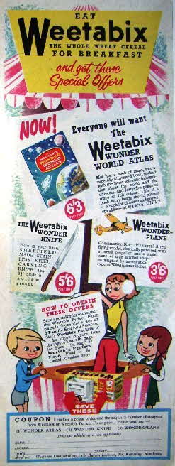1957 Weetabix Wonder Atlas, Plane & Knife (betr)1