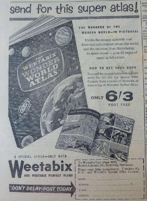 1957 Weetabix Wonders offers includes Atlas knife & plane