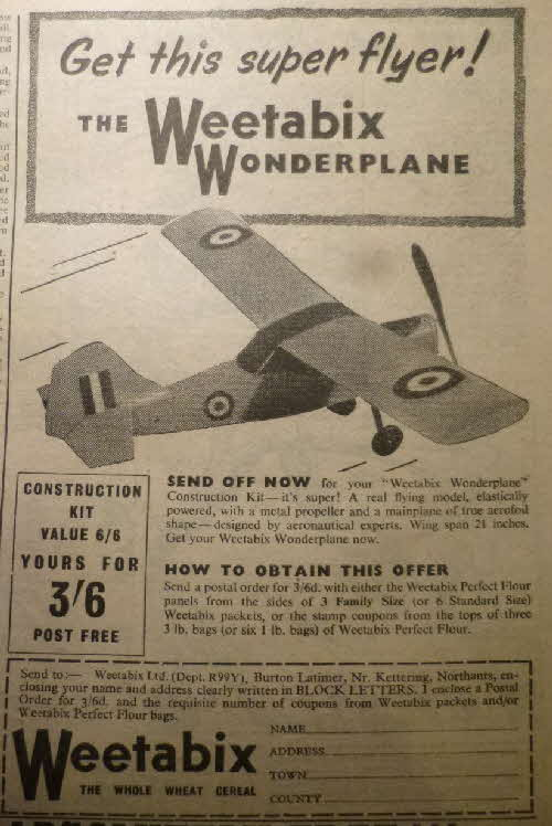 1957 Weetabix Wonderplane Offer