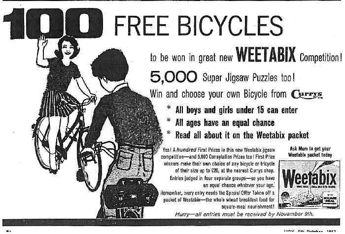 1963 Weetabix Bicycle competition