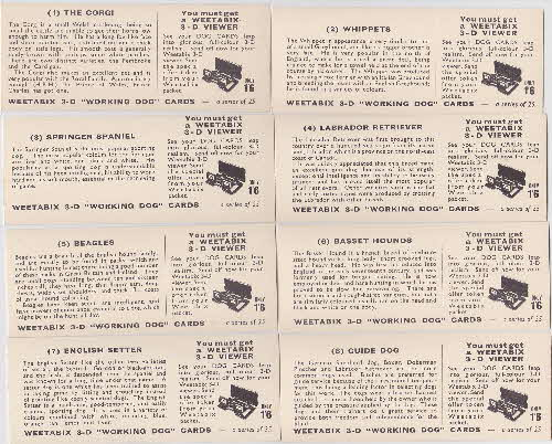 1960 Weetabix Working Dogs 3D Cards 1 reverse