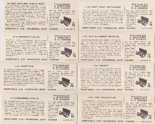 1960 Weetabix Working Dogs 3D Cards 2 reverse