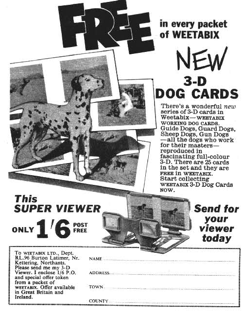 1960 Weetabix Working Dogs 3D cards