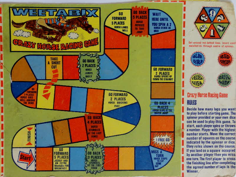 1970s Weetabix Crazy Horse Race Game