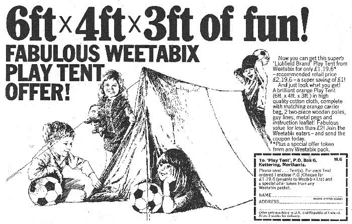 1968 Weetabix Tent offer
