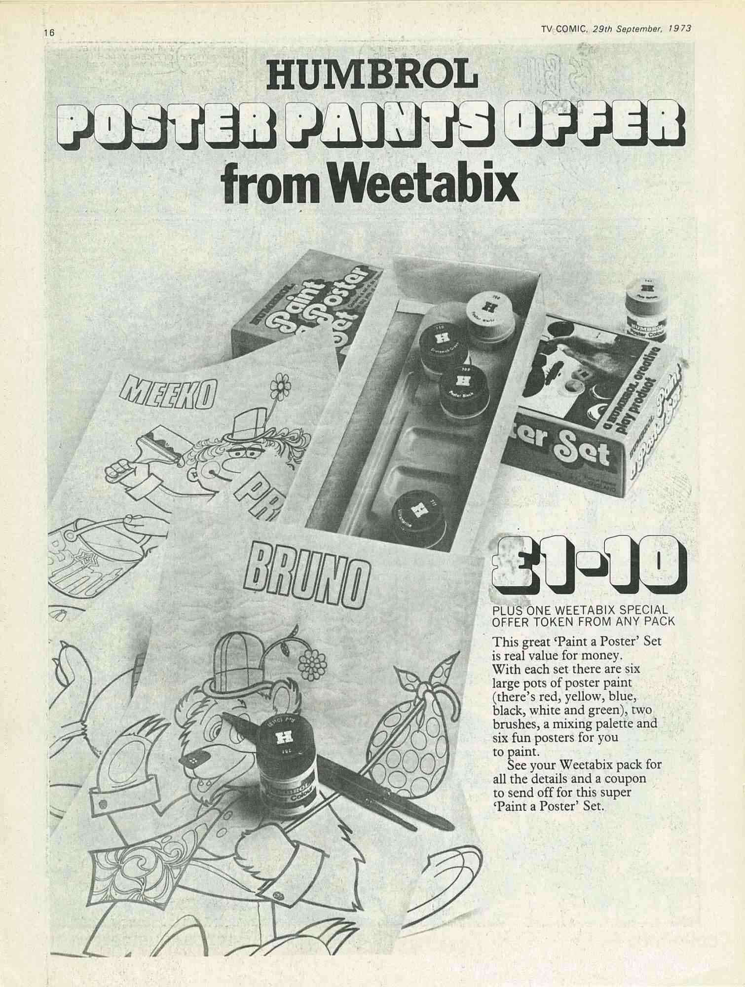 1973 Weetabix Poster Paints Offer