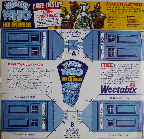 1975 Weetabix Dr Who & Enemies Tardis Pack1