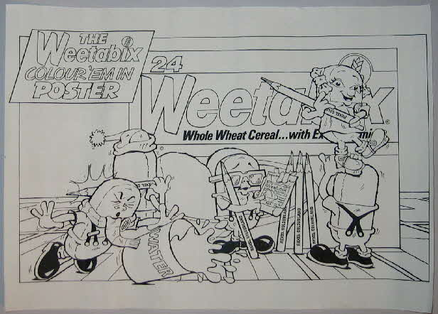 1984 Weetabix Colouring Painting Pencils & Poster (2)