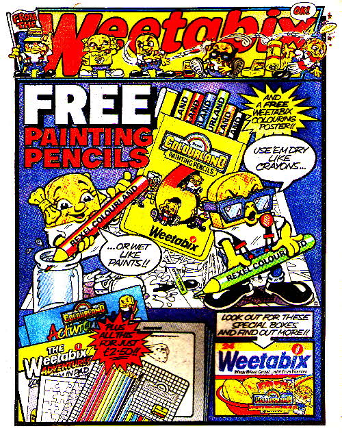 1984 Weetabix Colouring kit & pencils