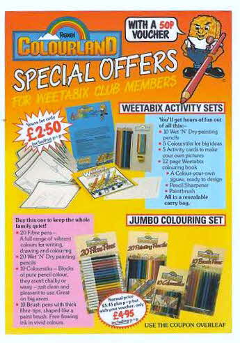 1984 Weetabix Colouring set leaflet (betr)