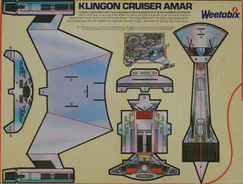 1980 Weetabix Star Trek Action Cards Klingon Cruiser Amar2