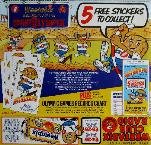 1984 Weetabix Weetolympic Stickers
