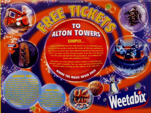1999 Weetabix Alton Tower Tickets