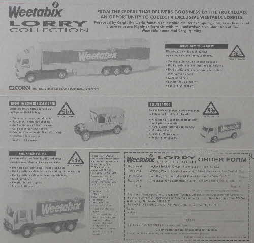 1998 Weetabix Lorry Collection inside