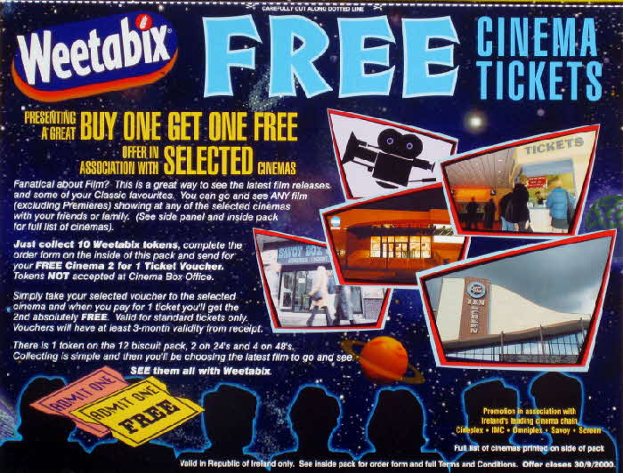 1999 Weetabix Free Cinema Tickets