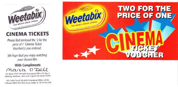 1999 Weetabix Free Cinema Tickets1