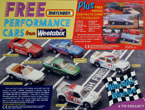 1994 Weetabix Performance Car Cards & Matchbox