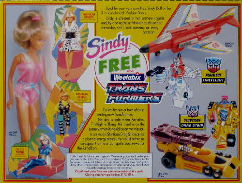 1991 Weetabix Sindy & Transformers