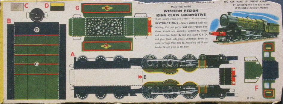 1960s Weetabix Workshop Series 16  Western Region King Class Locomotive
