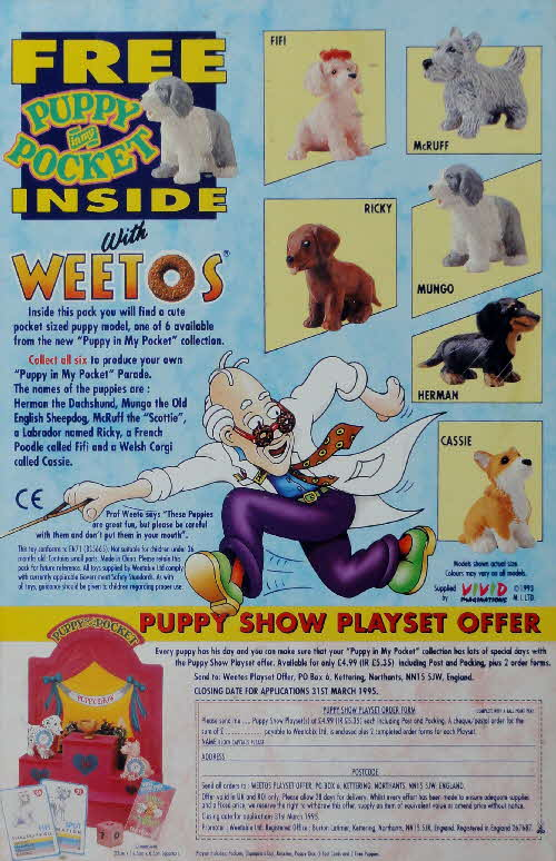 1994 Weetos Puppy in My Pocket & Playset