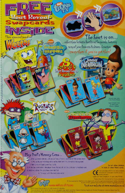 2004 Nick Toons Heat Reveal Cards Free In Packets Weetabix Weetos