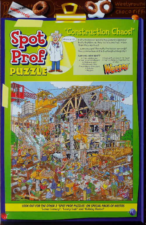 2002 & 2004  Weetos Prof Weetos Puzzles - reissued 2004 Construction Chaos
